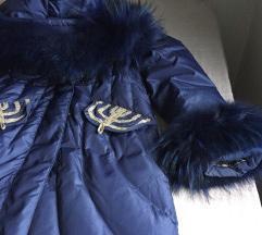 Zimska perjana jakna, prirodni krzno.