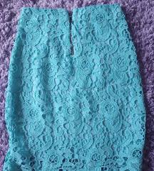 Tirkizna suknja sa cipkom S-M