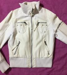 Zenska bela kozna jakna