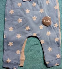 2 para pamucnih novih pantalona za bebu decaka, 74