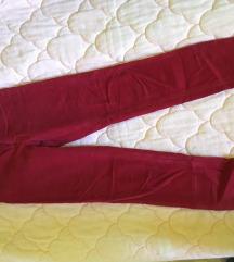 Crvene somot pantalone