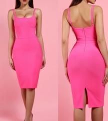 Herve Leger bandage pink haljina NOVA