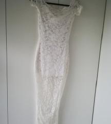 Snezno bela cipkasta haljina