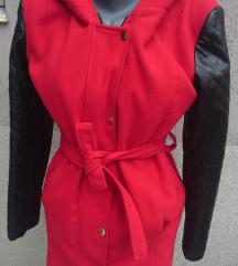 🖤✿ Crveni kaput sa kožnim rukavima 🖤✿