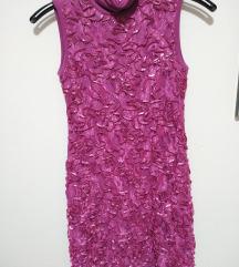 Roza haljina sa 3D cipkom