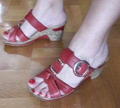 RIEKER crvene kozne papuce