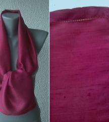 ešarpa bordo ciklama svilena 123x25 cm