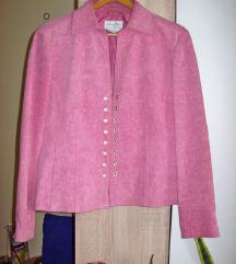 Vintage pink jaknica od brusene koze