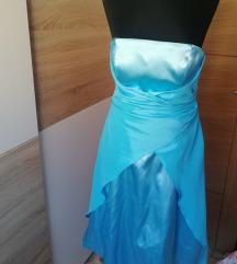 plava satenska haljina
