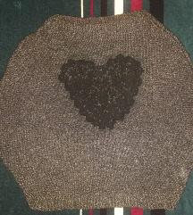 Crna crop-top bluza sa srebrnim nitima