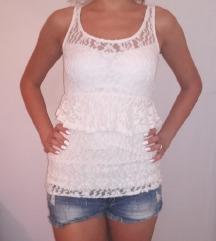 Bela čipka majica/tunika/haljina
