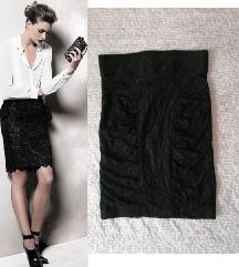 MANGO zift crna cipkasta suknja