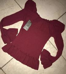Crvena knit dzemper bluzica