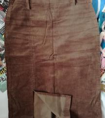 Braon somot suknja visok struk S
