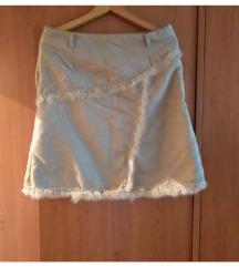 Krem suknja sa pravim krznom