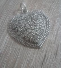 Privezak srce -srebro cirkoni