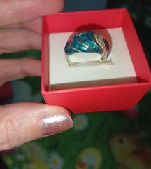 Srebrni prsten Zeleni opal
