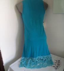 Plava majica haljina sa cipkom