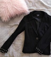 Crni sako sa nitnama na rukavima Yes/No L