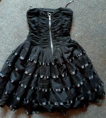 Pin up crna haljina sa cipkom i tilom