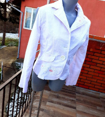 Pale pink teksas jaknica sa vezom