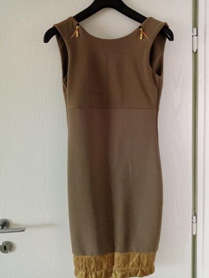 Maslinasto-zlatna haljina do kolena