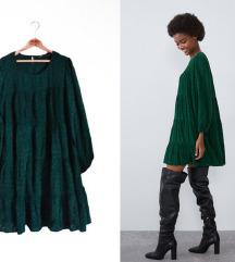 Zara poplin reljefna haljina sa puf rukavima