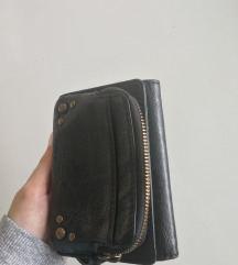 Crni kožni novčanik THE SAK
