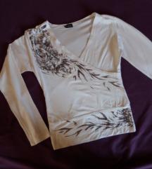 Bela crop bluza sa printom S-M