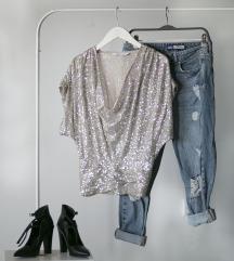 Zlatnosrebrna Zara bluzica sa krljusti