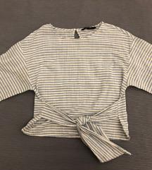 Zara pamuk/lan bluza na prugice M