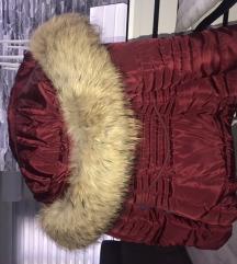 Bordo zimska jakna prirodno veliko krzno