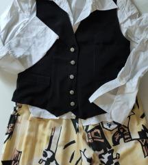 Vintage duga suknja-pantalone sa visokim strukom