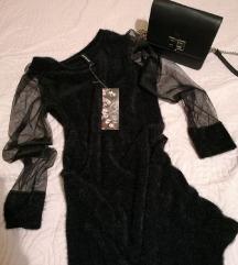 Crna haljina sa rukavima od tila
