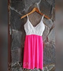 Letnja pink bela haljinica