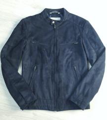 Muška teget jakna imitacija prevrnute kože