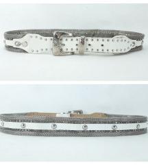 Vintage BERGE Italy metalni mesh kais sa cirkonima