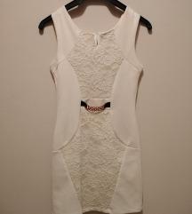Bela svecana haljina sa cipkom i kaisicem ✔️