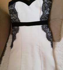 Bela haljina sa crnom cipkom
