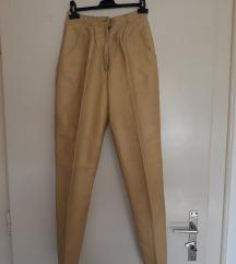 Pantalone od prave koze boje senfa