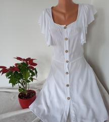 Bela viskozna haljina sa dugmicima vel M