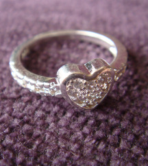 Prsten srce cirkoni srebro 925