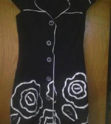 Crna haljina sa belim ružama RASPRODAJA