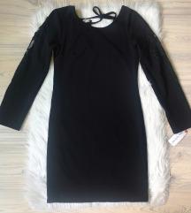 Italijanska crna haljina sa cipkom NOVA sa et