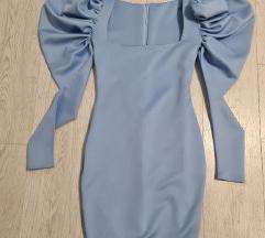 Plava haljina sa puf rukavima NOVA