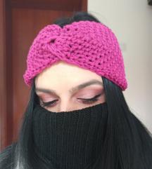 Pletena roze turban traka