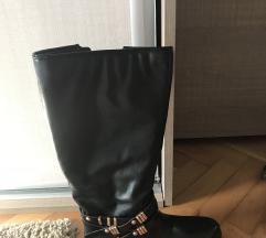 Čizme crne pola guma pola koza