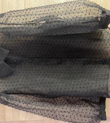 Crna providna kosuljica na tufnice sa puf rukavima