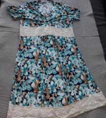 Cvetna letnja haljina sa pletenim delom + POKLON