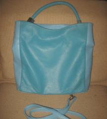 Velika nova plava kožna torba  -Made in Italy